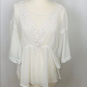 Free People Butterfly Lace Sheer Blouse White